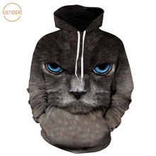 ISTider Men Dark Gray Cat Hoodies Hoody Women 3D Digital Print Autumn Spring Pullovers Hooded Sweatshirt 2017 New Loose Tops
