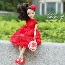 "Free shipping 29cm11"" Red wishful flower dresses Doll With a delicate hand bag Chinese ladies Kurhn doll National elements toys"