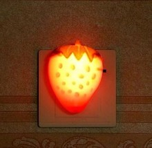 Strawberry red LED light lamp socket with switch plug creative small bulb feeding bedroom luminous energy