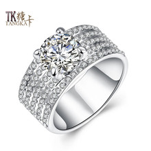 TANGKA high quality new fashion female silver ring cz shop white zircon cut modern design engagement wedding ring jewelry(China)