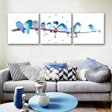 Free Shipping MINI SIZE E-HOME The Blue Bird On The Branch Clock in Canvas 3pcs Wall Clock