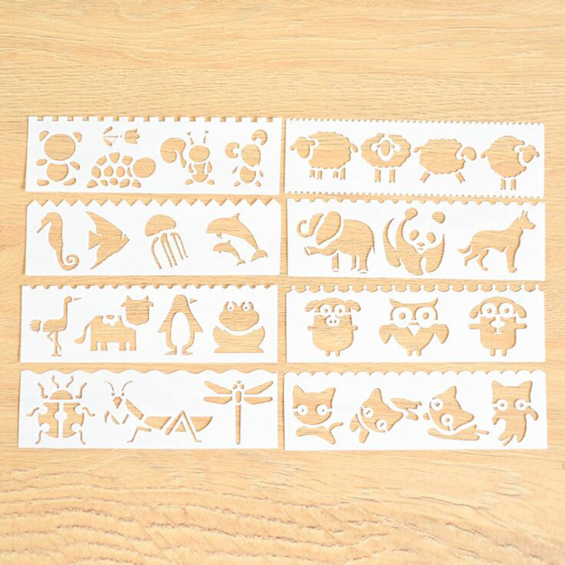 8pc Child Painting Stencil Letter Openwork Diy Scrapbooking Album Decorative Bullet Journal Number Template Drawing Stencils Home