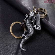 Lizard Gecko Animal Pendant Keychain Leather Key Chains Men's Keychains Charms For Women Luggage Tag Handbag Accessories(China)