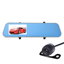 "Dual Lens 4.3"" Rearview Car Dvr Review Mirror Digital Video Recorder Auto Registrator Camcorder Full HD 1080P Camera Car Dvr(China)"