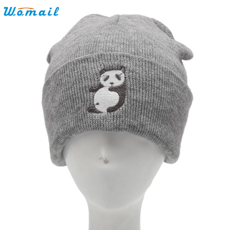 Unisex Knitted Winter Hats Women Men Panda Pattern Beanies Cap Gorro Elegant Nobility Aug 15 Hot SellingÎäåæäà è àêñåññóàðû<br><br>