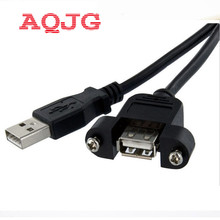 USB Male to Famale Cable USB Extension Cable Computer Motherboard Panel Mount USB Tailgate Cable With Screws 30cm AQJG(China)