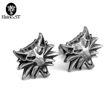 Free Shipping High Quality Wolf Head Cufflinks Wizard Witcher 3 Medallion For Men Cufflinks Wild Hunt 3 Figure Games man gift(China)