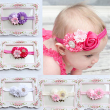 5 pcs pearl lace fabric Headband Elastic  Rose Flower Photography Headbands stretchy hair combs Krystal
