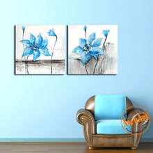 2 Pcs Flower Still Life Oil Painting Hand Painted Oil Painting On Canvas Home Decor Wall Art Blue Canvas Art Picture No Frame