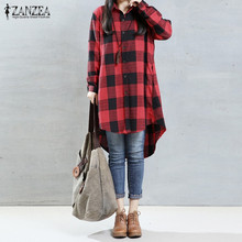 Buy 2016 Autumn ZANZEA Women Plaid Retro Long Blouses Shirts Ladies Lapel Long Sleeve Casual Loose Asymmetrical Mini Dress Vestidos for $10.29 in AliExpress store