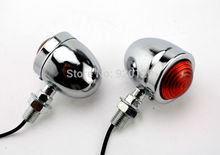 2 x Motorcycle Chrome Bullet Turn Signals indicator Light For Cruiser Chopper Cafe Racer