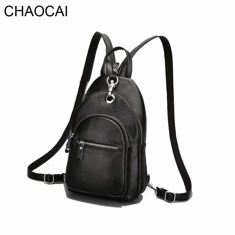Fashion Women Backpack Genuine Leather Bag Girl Chest Pack School Bags For Teenager Lady Female Travel Bags multifunctional<br>