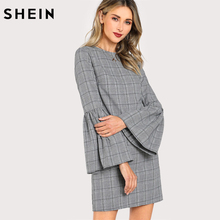 Buy SHEIN Long Sleeve Dress Grey Trumpet Sleeve Plaid Straight Dress New Fashion Womens Flounce Sleeve Zipper Back Casual Dress for $16.97 in AliExpress store