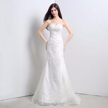 In Stock Sweetheart Appliques Beading Lace-up Back Mermaid Sweep Train Wedding Dresses Lace Bridal Dress