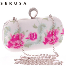 Classical Embroidery printed flower handmade style women evening bags finger ring diamonds small purse chain shoulder handbags
