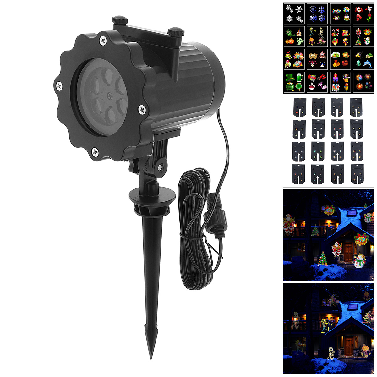 Waterproof Outdoor Snow Projection Laser Light with 16 Card for Halloween / Christmas / Holiday Decoration<br>