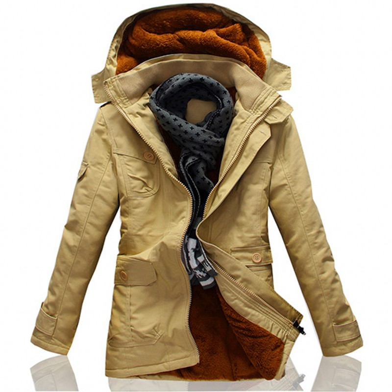 2019 New Winter Khaki Trench Coat For Men Fashion Hooded Windbreaker Fur Lining Warm Winter Mens Overcoat Large Size 5XL Jackets