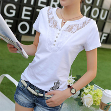 2016 New Fashion Brand Summer Short Sleeve Lace Button Neck Sexy Print Black Butterfly T Shirt Women White Cotton Tops Tee Femme