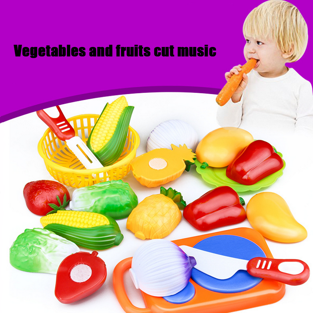 1 set Plastic Kitchen Food Fruit Vegetable Cutting Toys Kids Baby Toy Play Cook
