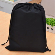 New Arrival Premium Waterproof Non-woven shoe Clothes storage bag Travel Wash Pouch Drawstring bag Black