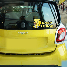 Cartoon Pikachu Pokemon Go Baby In Car Stickers and Decal for Volkswagen Polo Skoda Golf Opel Peugeot 307 Renault Bmw E39 Ford(China)