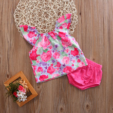 Newborn Baby girls clothing Sets Infant Baby Girl Flutter Sleeve Tunic +Brief Shorts Summer Floral Kid Girl Sets 0-24M(China)