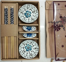 Wholesale 30sets/LOT ceramic cutlery 6PCS sets Japanese style chopsticks and rack and dishes Tableware gift Wedding Souvenirs