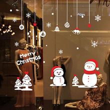 Removable Merry Christmas Cute Xmas Snowman Snowflake Vinyl Wall Window Sticker Art Home Decor Christmas Decoration Wall Sticker