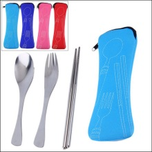 by DHL or EMS 100 sets Travel Picnic Portable Cutlery Stainless Steel Tableware 3pcs/sets Chopsticks Spoon Fork