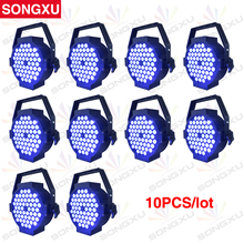 SONGXU 10pcs/lot 54x3W RGB 3IN1 7 DMX Channel 54 Flat Led Par Light High Power Slim LED Par Cans for Party Stage/SX-PL5403B