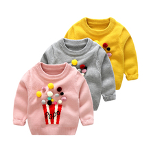Big Cow Baby cotton sweaters for girls Winter infant Sweater puffed rice Pattern Long Sleeve newborn Outerwear Kids Knitwear(China)