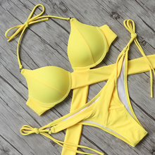 Buy Cross Bandage Design Halter Bikini 2018 Swimsuit Women Swimwear Bathing Suit Push Beachwear Sexy Brazilian Bikini Set