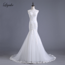Buy Liyuke Elegant Appliques Bride Dress Zipper Sleeveless Natural Waist Mermaid Wedding Dresses Vestido De Noiva for $157.74 in AliExpress store