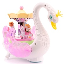 Kids Electronic Pet Toys Sounding Flashing Musical Cartoon Electric Swan Carousel Musical Box Learning Educational Toys Children(China)