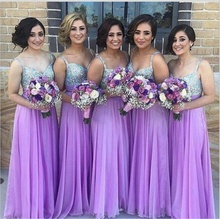 2017 1pc Women Purple Empire Diamond Wedding Chiffon Paillette Deep V Shiny Bridal Bridesmaids Long Party Performance Dress