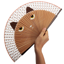 Hot Sale 21x38cm Vintage Japanese Bamboo Silk Hand Fan Cartoon Cat Painted Folding Fan Craft Xmas Christmas Gift Exquisite Craft