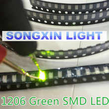 100PCS Free Shipping SMD 1206 Green Led 1206 SMD LED Green super bright 1206 light-emitting diodes 560-575nm 70-200mcd 3.2*1.6mm