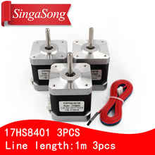 Free shipping 3PCS 4-lead Nema17 Stepper Motor 42 motor 17HS8401 1.8A CE ROSH ISO CNC Laser and 3D printer with DuPont line(China)