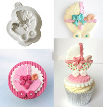 Sugar Buttons PRAM Baby Stroller Silicone Moulds Fondant Cake Molds Baking Tools Cupcake Confeitaria Kitchen Accessories