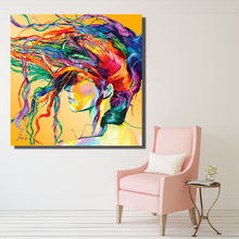 HDARTISAN NEW Graffiti Street Modern Colorful Hair Portrait Oil Painting On Canves Prints Wall Art Pictures For Bedroom indust(China)