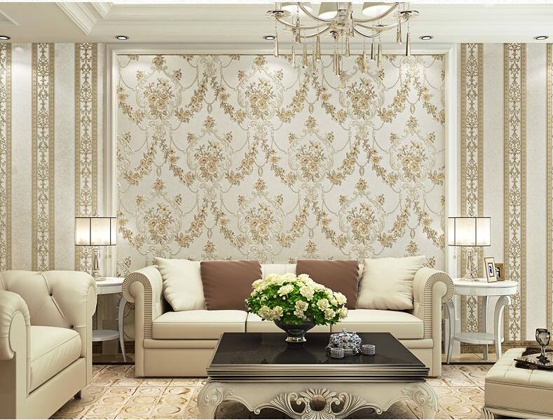 beibehang Stereo Europea-style garden flowers vertical stripes AB version of papel de parede wallpaper living room background