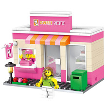 City Series Mini Street Model Store Shop with Mini Apple Store McDonald`s Building Block Toys Compatible with Lepin