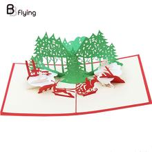Paper Card 3D Hollow out Xmas Gift Greeting(China)