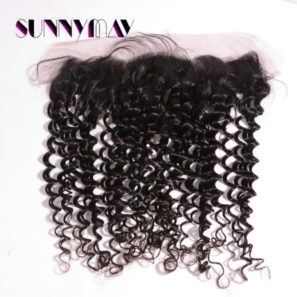 Unprocessed 13x4 Silk Base Lace Frontals Natural Color Brazilian Virgin Human Hair Deep Curly With Baby Hair<br><br>Aliexpress