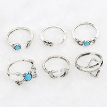 Artistic Unique Style Set of Six Piece Rings Moon Arrow Set Rings for Women Gift
