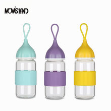 MOM'S HAND Portable Glass Water bottle with Silica Gel Sleeve 300/400ML Lovely Onion Fruit Juice Bottle for Water(China)
