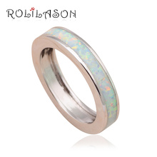 High Quality White Fire Opal Silver Stamped Party Gifts Fashion Jewelry Rings for Ladies USA #6#7#8#9#11 OR693
