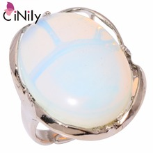 CiNily Moonstone Green Stone Lapis Lazuli Silver Plated Wholesale NEW for Women Jewelry Ring Size 6 Adjustable Size NJ10812-15