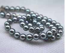 stunning9-10mm round tahitian black grey pearl necklace  18inch>free shipping