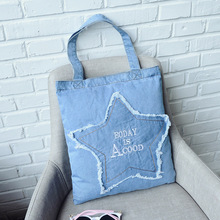 Fashional Style Letter Shopping Bag Denim Tote Jeans Canvas 2017 Hot selling Street bags for Ladies Canvas handbags Solid Zipper(China)